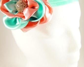 Pink and sea foam green stretch headband