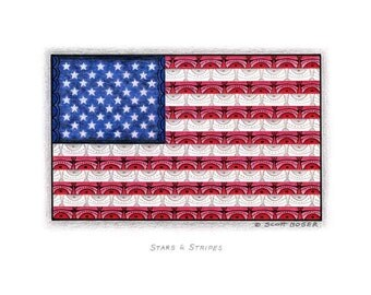 """ART Print;  Abstract Colored Pencil Illustration; """"Stars & Stripes"""""""