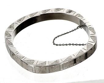 hand engraved modernist sterling bangle