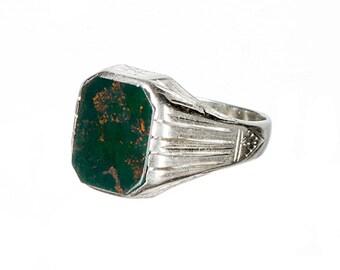 Art Deco 14k white gold & bloodstone ring