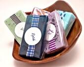 Soap Samples, Pick 5 Mini Soaps, Travel Size Soaps, Party Favors, 1 oz. Guest Soaps, Trial Size, Bridal Shower, Baby Shower Favors, Wedding