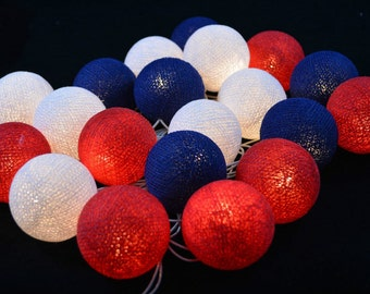 White, Red, Navy Blue Cotton Ball String Lights Fairy lights Party