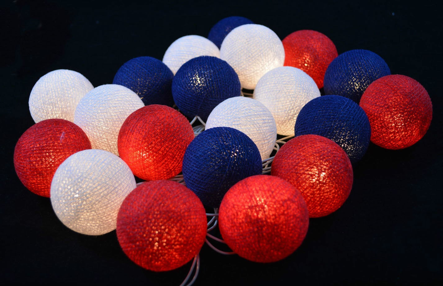 white red navy blue cotton ball string lights fairy lights. Black Bedroom Furniture Sets. Home Design Ideas