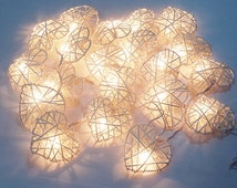 valentine love time heart white string lights 20 rattan party patio fairy decor wedding