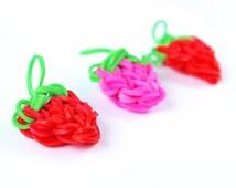 VALENTINE DAY! Loom Band Strawberry Charm - Zipper Pull, Charm, Rubber Band, Wedding Favors, Rainbow loom charm