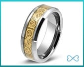 Tungsten Wedding Bands,Mens Ring,Mens Wedding Bands,Beveled Edge,Rings,18K Yellow Gold,8mm,FREE Engraving,Mans,Chinese Dragon,His Hers,Set