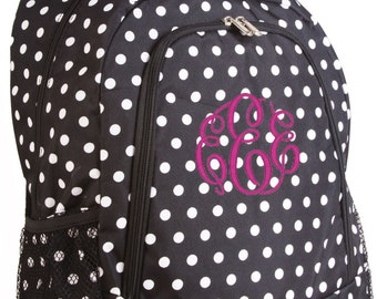Personalized Monogrammed Backpack Polka Dot Black and White Girls Children Kids Teens School
