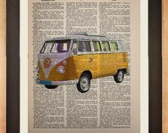 Volkswagen Bus Dictionary Art Print, Retro Vanagon Camper Van Camping Yellow  Wall Art da73