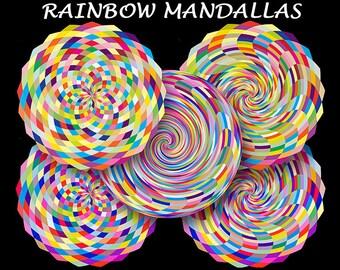 7 Mandala Digital Paper Set - Mod Mandallas Downloadable Printable Papers - 12 inch Mandala Digi Scrapbook Backgrounds in Rainbow Colors