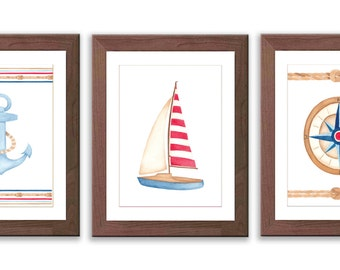 Boy Nursery Art - Nautical Nursery Art - Watercolor Boat Print - Baby Boy Nursery Decor - Compas - Sail Boat - Anchor - S013W