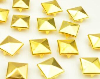 12mm Gold Pyramid Bead 4 Claw Rivet DIY Stud Bead Accessories(50 pcs)