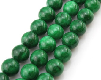 14mm Round Green Jade Beads,One Full Strand,Green Stone,Round Jade,Gemstone Beads----about 28 Pieces---15.5 inches--BJ003