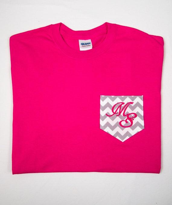 chevron pocket t shirt with monogram