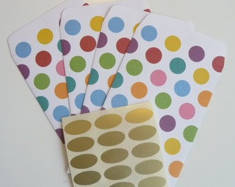 Multicolored Polka Dots Paper Bags- Set Of 15 Bags With 15 Gold Stickers