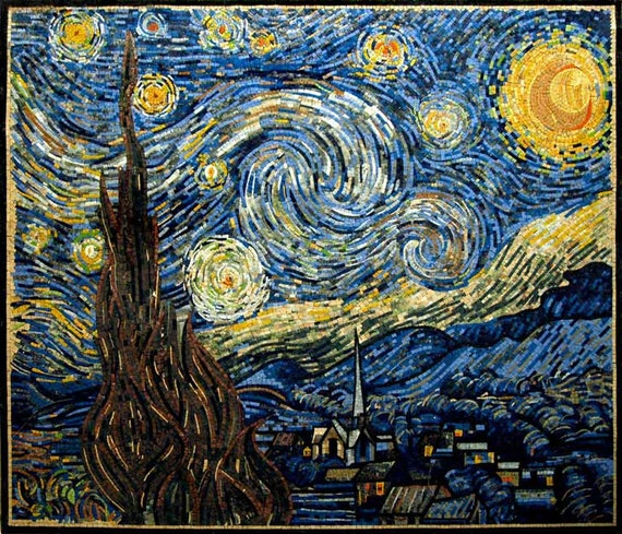 Vincent van gogh starry night reproduction mosaic for Mural van gogh