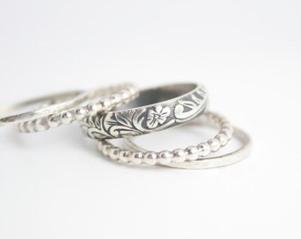 Wedding Band Sterling Silver Stacking Ring Set