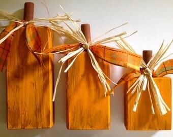 Wooden Pumpkins, Set of Three, Seasonal Decor - Original Design - Hand Painted - Made In USA