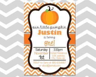 Fall Birthday Invitation/Card Pumpkin First Birthday Invitation/Card First Birthday Invitation/Card