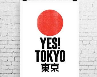 Tokyo travel print, Tokyo art print, Tokyo inspired print, typographic print, Yes! Tokyo, typographic art, Tokyo poster art