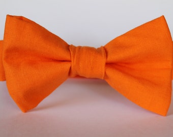 Bold orange bow tie, baby, boy, adjustable velcro closure