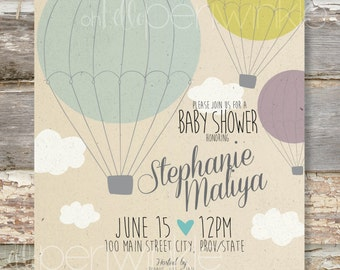 Vintage Styled Baby Shower Invitation Hot Air Balloons