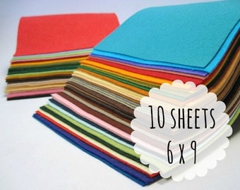 Wool Felt Sheets, 6 x 9 inches - Wool Blend Felt - Felt Fabric - Felt for Crafting - Choose 10 Colors