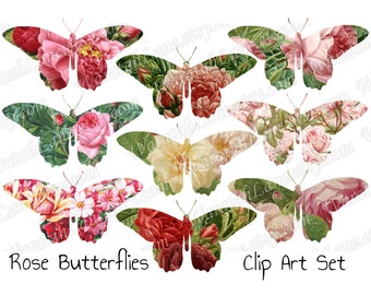 Digital Clip art Butterflies Butterfly Clip art Butterfly roses PNG Files Bright colours shabby flowers floral images wedding clip art