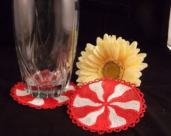 FSL Peppermint Coasters Machine Embroidered Coasters  FSL Coasters  Christmas Coasters