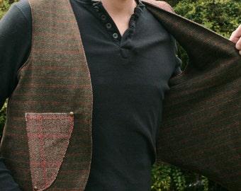 SALE!!! --FREE SHIPPING! Reversible Tweed Man Waistcoat