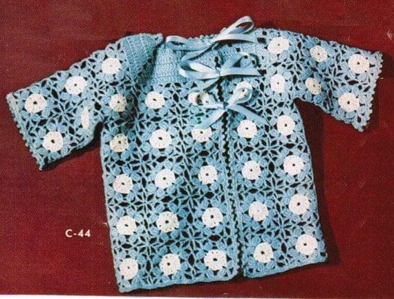 Crochet Flower Jacket Pattern : Vintage Crocheted Flower Lace Jacket pattern PDF / Granny