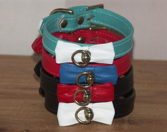 Handmade Bow Tie Leather Dog Collar - 10, 12, 14 Inch Lengths - Black, Red, Turquoise, Blue, White - Small Medium