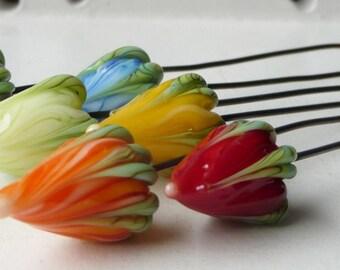Rainbow Flowerbud Headpins by Sabrina Koebel