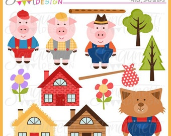 Three Little Pigs Clipart, Nursery Clipart, Three Little Pigs Graphics, Pig images, Mother goose nursery rhymes, kids nursery rhymes