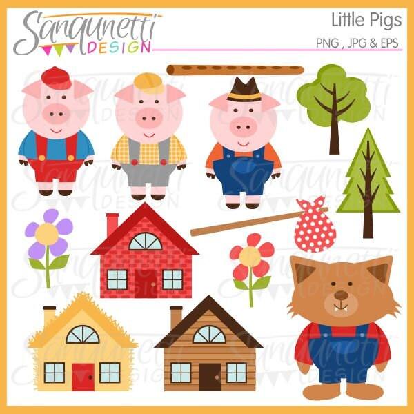 Three Little Pigs Clipart Nursery Clipart Three Little Pigs