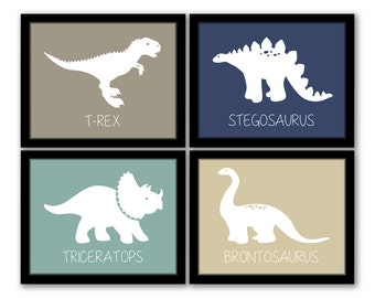 INSTANT DOWNLOAD, Dinosaur Wall Art, Set Of 4, Nursery Art, Kids Art Part 36