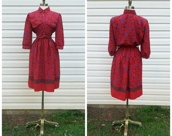 REDUCED 70s Red Dress Breli Originals Retro Floral Print Purple Button Secretary Dress Sz S (6)