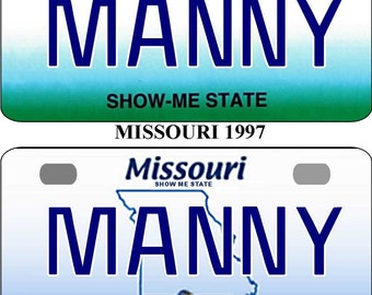 Personalized Missouri  1997, 2008 BICYCLE replica license plate accessory overlaminated