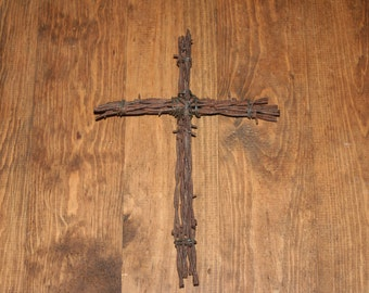 10 Inch Rustic Barbed Wire Cross Wall Hanging Decoration