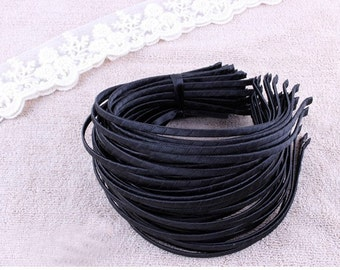 5mm Satin covered metal Wrapped headband 50pcs-choose you like colors