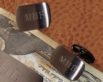 Brushed Gunmetal Cuff Links (e149-1101) - Free Personalization