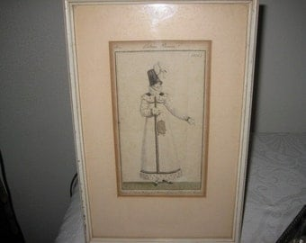 French 1814 Costume Parisien Engraving