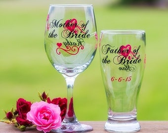 Mother of the Bride, Father of the Groom, Mother of the Groom, Father of the Bride, Pilsner beer glass, wine glass. Priced individually