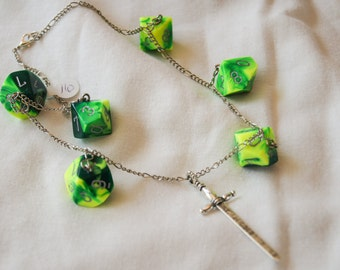 Green D10 and Sword Necklace