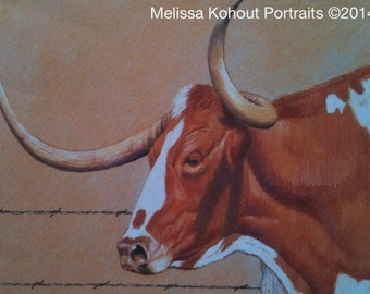 """Texas Longhorn art: """"Hooked on Horns 1,"""" 11x14 Limited Edition prints"""