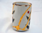 Indulgent Mint Stone Kintsugi Sake Cup V2 Mended with Gold Seams