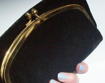 Vintage Velvet Clutch / Brass Closure / Satin Lined / by Mel Ton