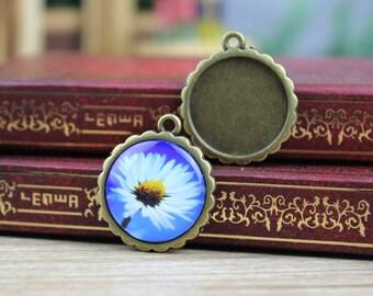 10pcs  Antique Bronze  Pendant Necklace -  DiY Pendant Necklace Base - 20mm Setting  Blanks