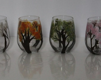 Seasons Stemless Wine Glasses Set of Four
