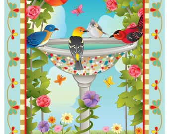 Bathing Birds Blue or Ivory. Springtime in the birdbath. Fun time!