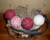 Primitive Americana Country Rag Balls Bowl Filler